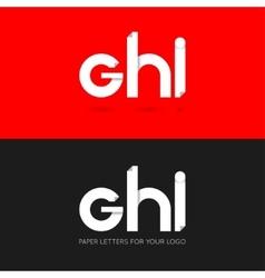 letter G H I logo paper set background vector image