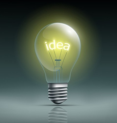 Light bulb with the word idea vector image vector image