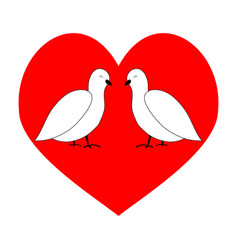 love couple dove in red heart vector image vector image