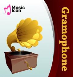 music gramophone vector image vector image