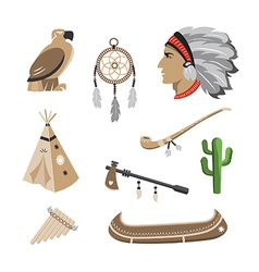 Native american indian icons vector image vector image