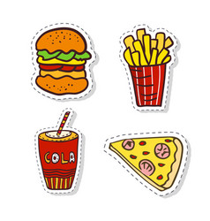 patches elements with fast food doodle badges vector image vector image