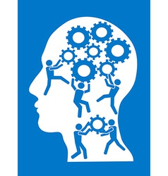 people working in gears brain vector image vector image