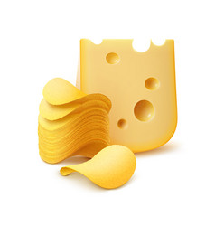 Potato crispy chips stack with cheese isolated vector