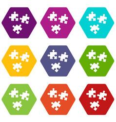 puzzle icon set color hexahedron vector image vector image