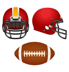 Red football helmet set vector image