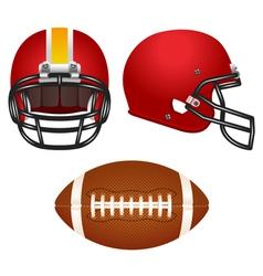 Red football helmet set vector image vector image