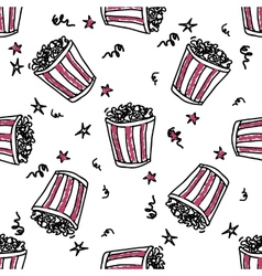 Seamless pattern with doodle pop corn backets vector image