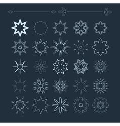Set of monochrome flower mandala on a vector image