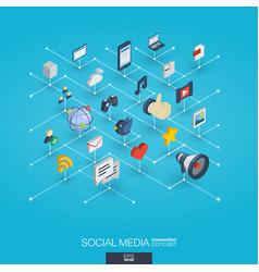 Social media integrated 3d web icons digital vector