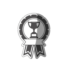 sticker trophy cup medal in monochrome with ribbon vector image vector image