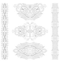 Unique coloring book page for adults - floral vector