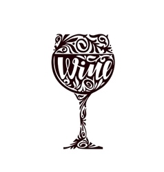 Wine Glass of alcoholic beverage in a decorative vector image