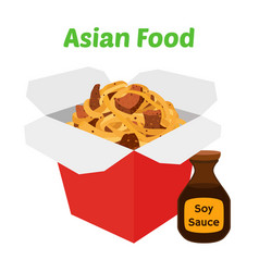 Wok boxasaian fast foodcartoon flat style vector