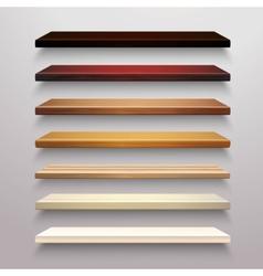 Wooden Shelves Set vector image vector image