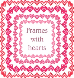Set of frames with embroidered hearts vector