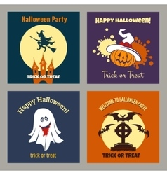 Halloween party scary flat posters vector