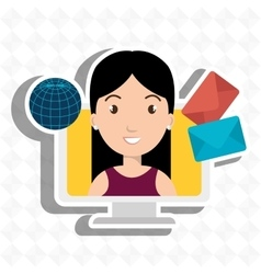 Woman laptop global message vector