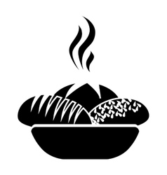 Monochrome silhouette basket with hot bread vector