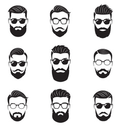 Set of bearded men faces vector