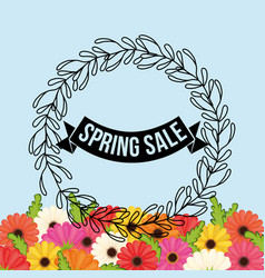 spring sale flowers crown leaves festive vector image