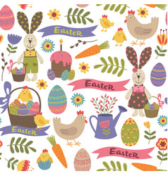 Seamless pattern with easter design elements vector