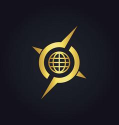 round globe arrow compass gold logo vector image