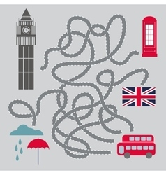 Maze with london symbols - vector