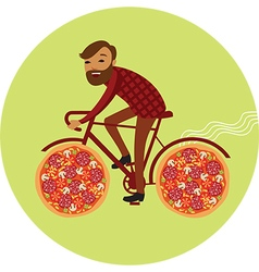 Pizza delivery by bike vector