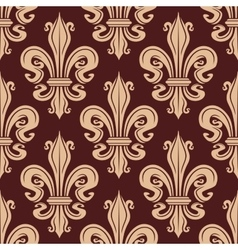 Brown and beige seamless fleur-de-lis pattern vector