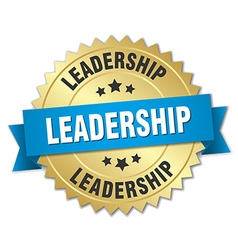Leadership 3d gold badge with blue ribbon vector