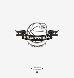 Basketball emblem logo badge with ribbon for vector