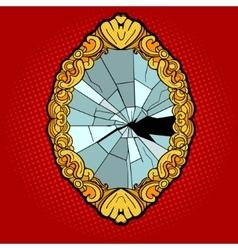 Broken vintage mirror pop art style vector