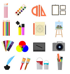 cartoon art color icons set vector image