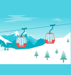 cartoon car cabins cableway in mountains vector image vector image
