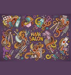 cartoon set of hair salon theme doodles vector image