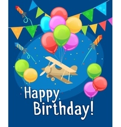 Children happy birthday card with balloons vector