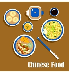 Chinese cuisine food snacks and beverage vector