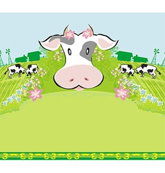 Cows graze in the meadow - abstract funny vector image