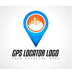 creative gps city locator logo design for brand vector image