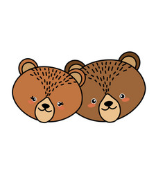 cute bear head animal couple together vector image vector image