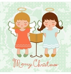 Cute Christmas card with happy angels singing vector image