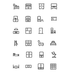 Furniture line icons 3 vector