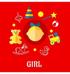 Girl flat concept vector image