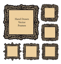 Hand drawn art frames vector