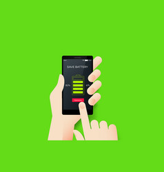 Hand holding smartphone with conceptual save vector