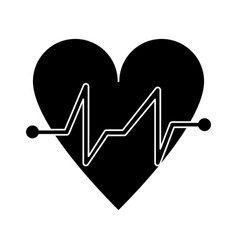 Heart beat pulse cardiac medical pictogram vector