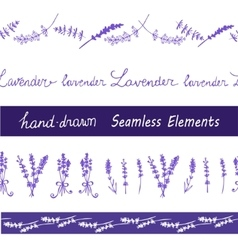 Lavender seamless elements set vector