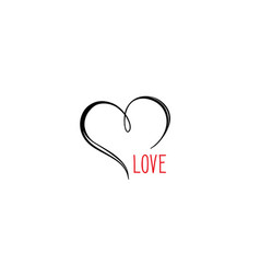 love heart calligraphic gift card valentines vector image vector image