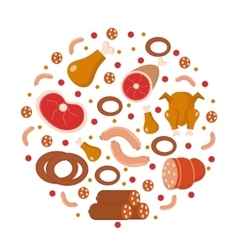 Meat and sausages icon set in round shape flat vector image